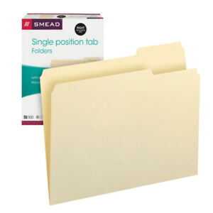 File Folders, 1/3 Right Tab Cut, 1 Ply, Letter, 100/BX, MLA