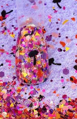 glitter mix acrylic gel nail art   crafts   HAWAIIAN SUNSET