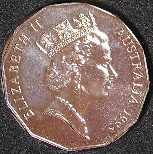 1995 50 cent /'WEARY DUNLOP/' SPECIMEN GRADE COIN