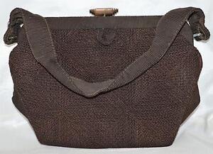 993c6a4e3c Vintage Deco Corded Dark Brown Handbag Purse with Double Triangular ...