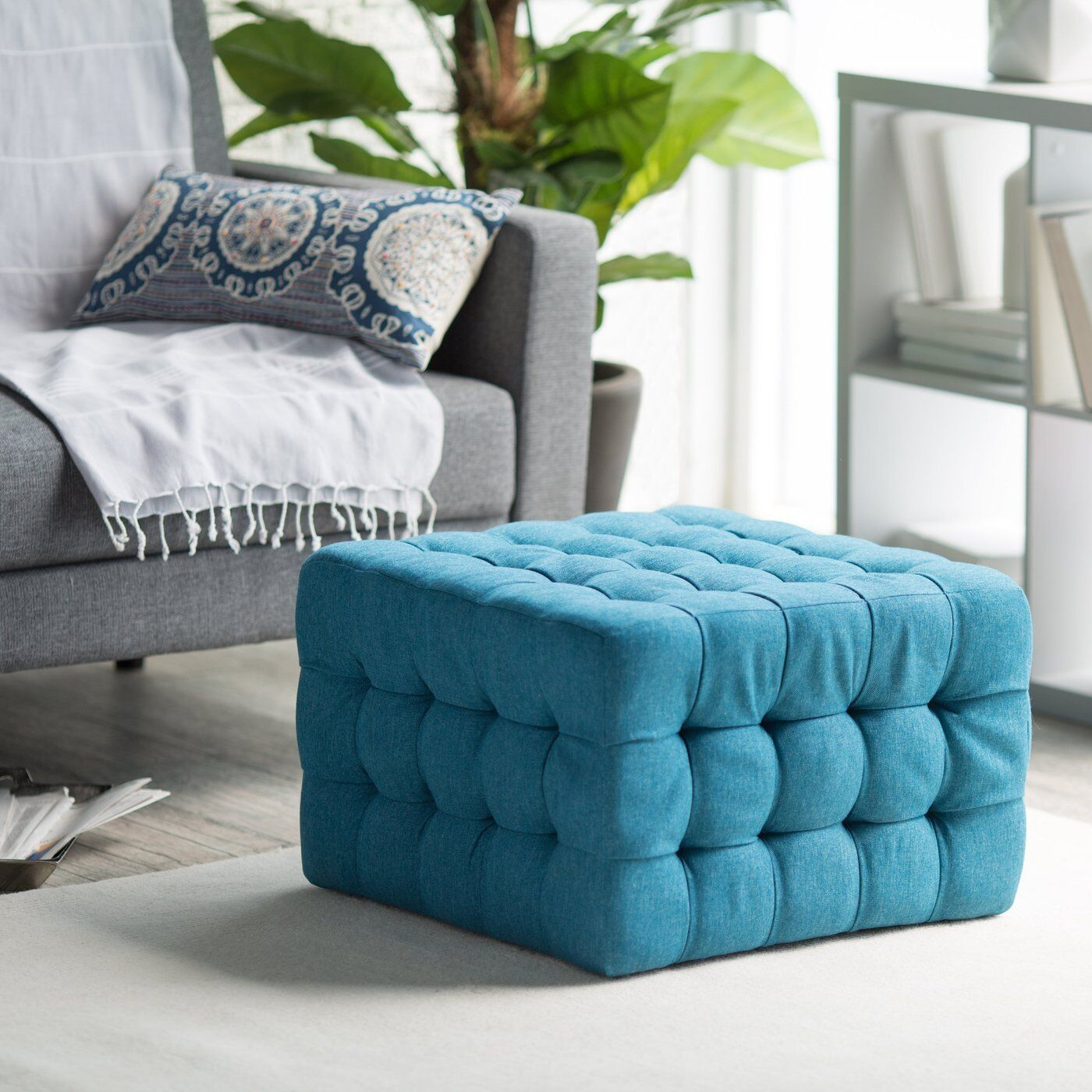 Tufted Ottoman Bench Stool Foot Modern Chair Furniture