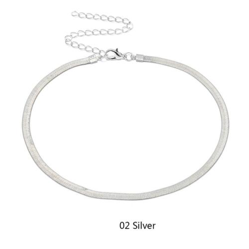 Women Silver Gold Color Thin Stainless Steel Chain Choker Necklace