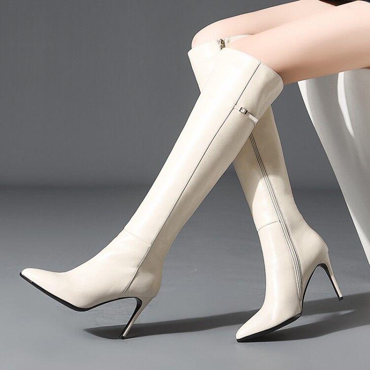 Women Genuine Leather Fashion Pointed Toe Elegant Stiletto Heel Knee High Boots