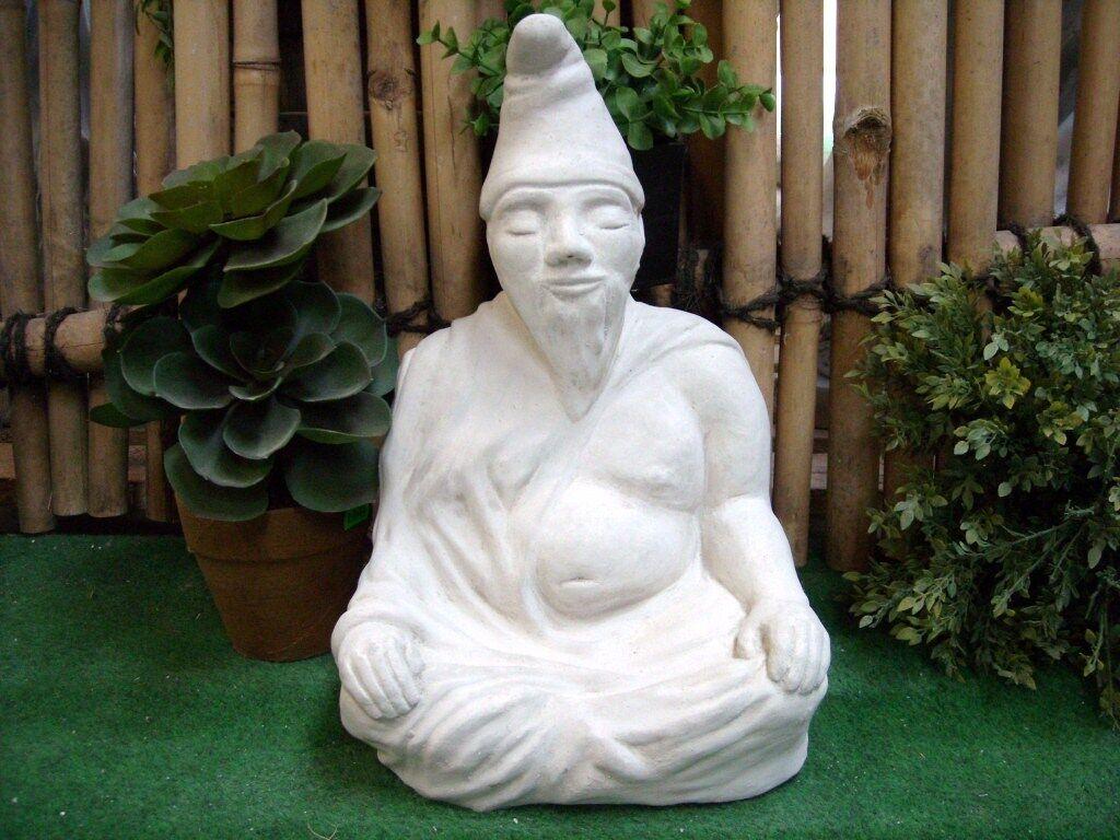 Figura di Pietra Zwuddha Der Meditatore Nano da Giardino L'Originale Nuovo,