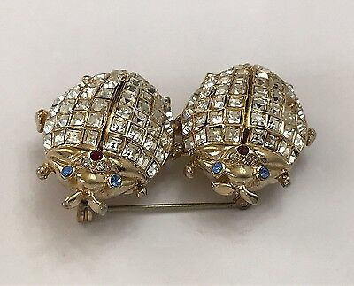 Vintage RARE Coro Craft Duette Pin Brooch Dress Clips Beetle Bug