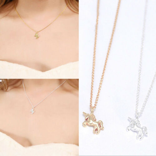 Women Metal Unicorn Charm Necklace Pendant Choker Clavicle Chains Party Jewelry