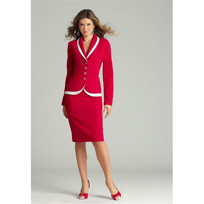 pink Red Womens Business Suits Ladies Skirt Suits Female Office Uniform Suits