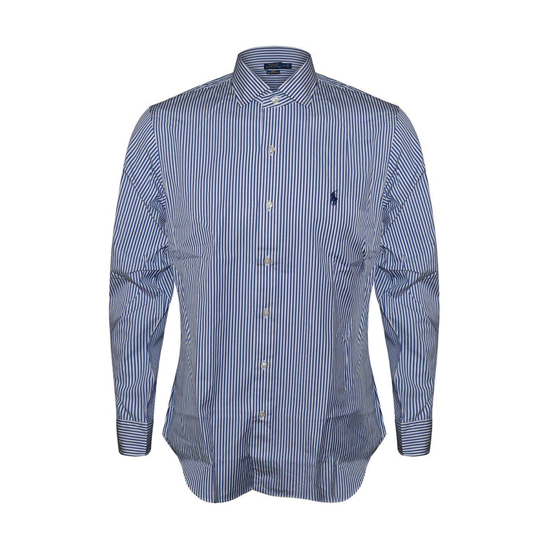 Polo Ralph Lauren Men SLIM Fit 100% Cotton Stretch Oxford Sport Shirt, blueE STRI