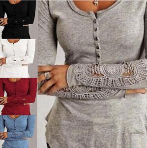 Women-Fashion-Long-Sleeve-Shirt-Casual-Lace-Blouse-Loose-Cotton-Tops-T-Shirt-Lot