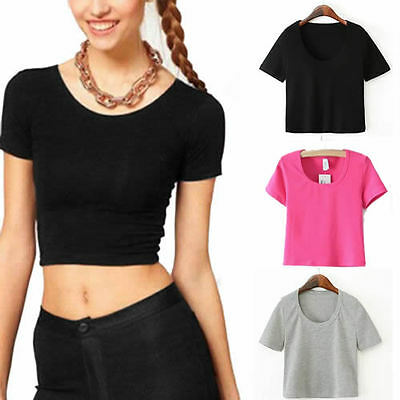 Women Sexy Crop Tops Cropped Scoop Neck Casual Blouse Vest T-Shirt Short Sleeve