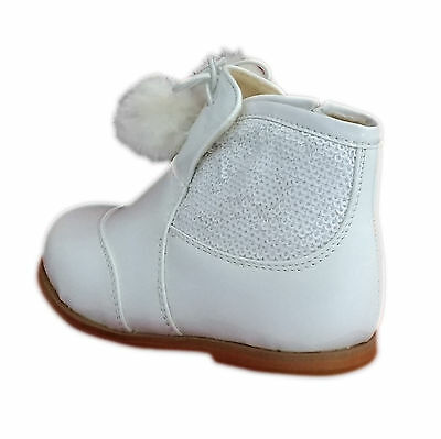 Kids, Childrens patent boots with pom pom and sequined detailing on side