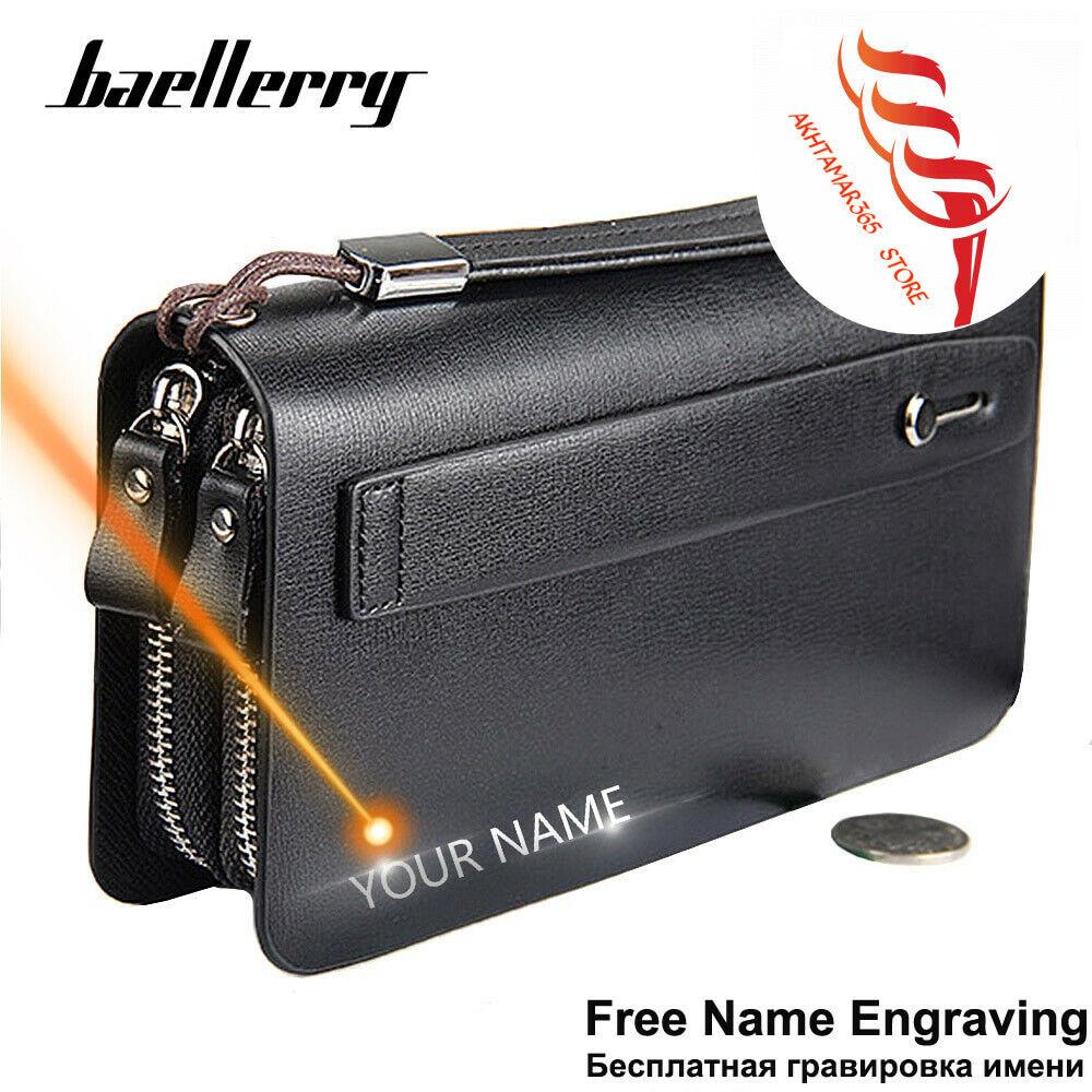 Free Engraving 100% Genuine Leather Large Capacity Phone Pocket Double Zipper