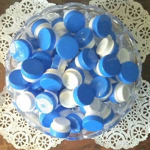 50-Cute-White-Plastic-1-4oz-Sample-JARS-1TSP-Skin-Care-Blue-Lids-Caps-3301-NEW