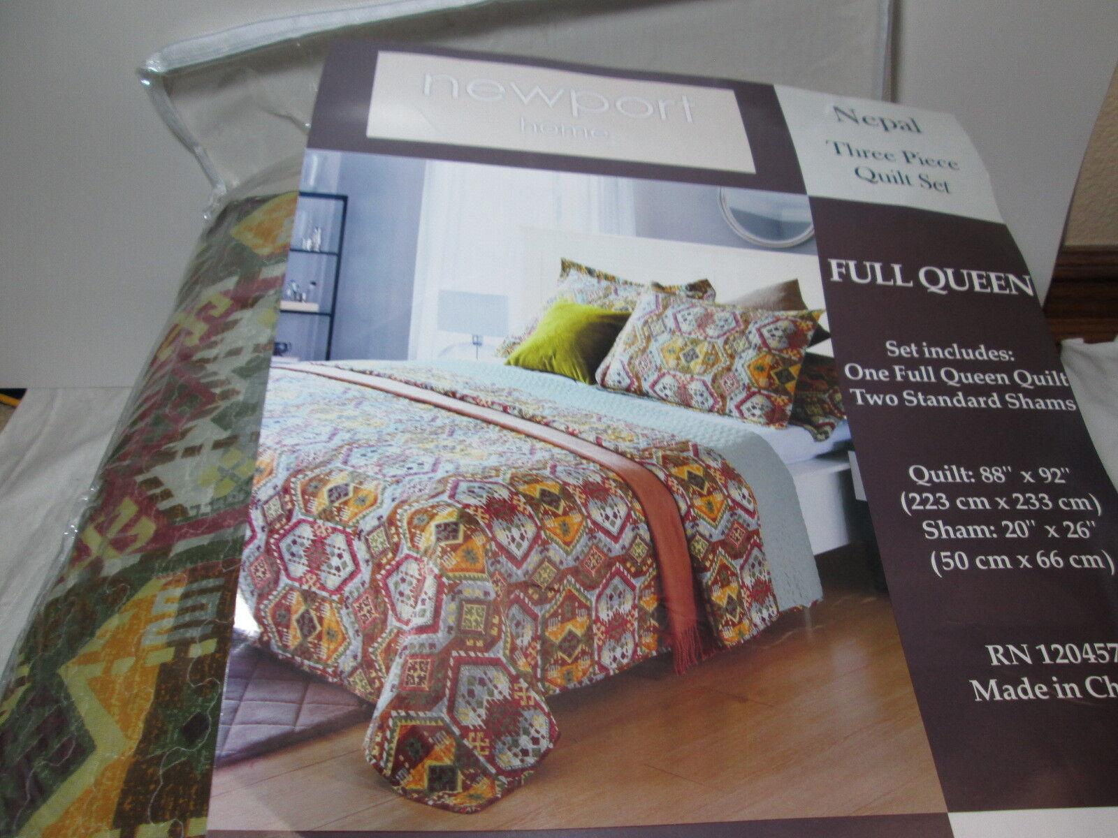 New Newport Home NEPAL 3 piece Full Queen Quilt Set