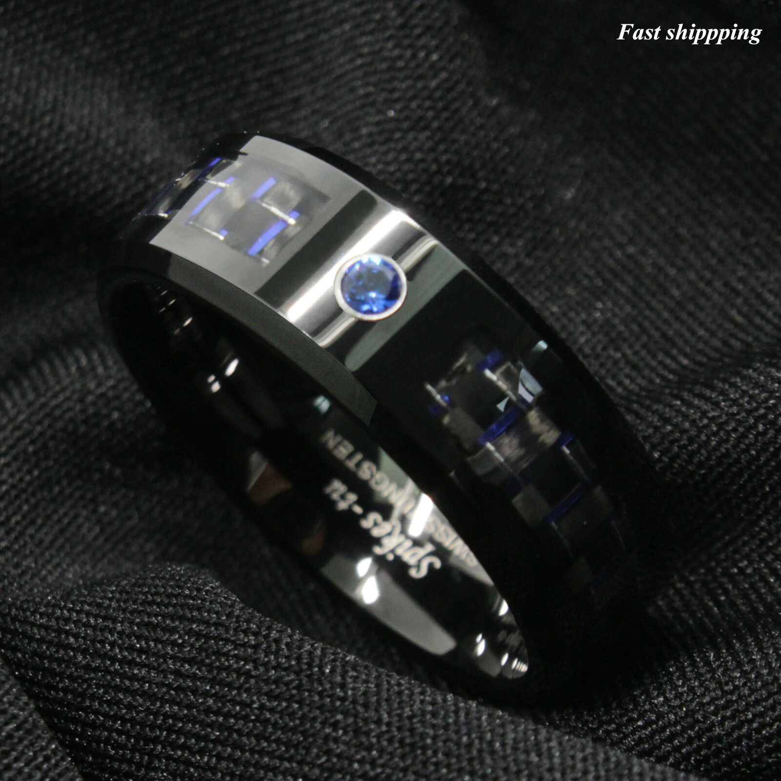ring line band carbide groove pin rings men ujbox for engagement thin fashion tungsten blue wedding