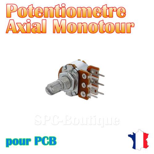 pour PCB 1x Potentiomètre stéréo logarithmique Axial 22KΩ A22K