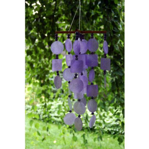 purple finish wood Woodstock Chimes coconut C716 Purple Capiz Chime W// Beads