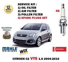 Para Citroen C2 1.6 I Vts 125bhp 8/2004 -12 / 2010 Aceite Aire Polen Filtro Kit + Tapones