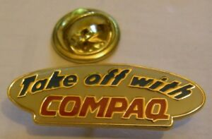 COMPAQ-COMPUTER-TAKE-OFF-WITH-COMPAQ-vintage-pin-badge