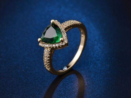 Trilliant Vert Émeraude Superbe Femmes ETERNITY de MARIAGE en or platine Anneaux
