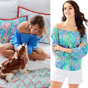 New-Lilly-Pulitzer-Silk-Adira-Silk-Off-The-Shoulder-Top-Blue-Blue-Pink