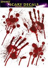 BLOODY HANDS Halloween WINDOW STICKERS Handprints Party Prop Scary Decoration