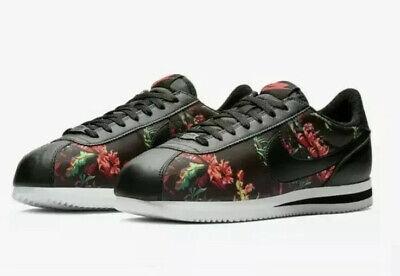 Nike Cortez Basic Black Floral Size 8.5