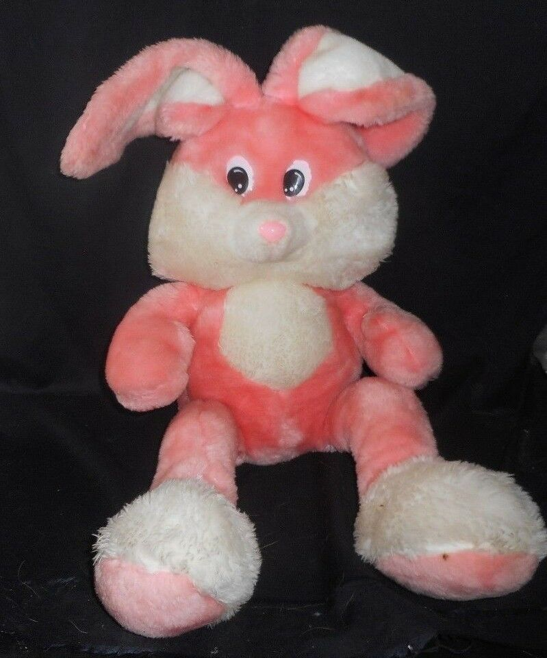 33  VINTAGE NEWMAN IMPORTING CO PINK WHITE BUNNY RABBIT STUFFED ANIMAL PLUSH TOY