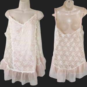 VTG-Delicates-Women-039-s-Plus-Size-XL-Sheer-Lace-Chemise-Cami-Sexy-in-Ivory-B-74