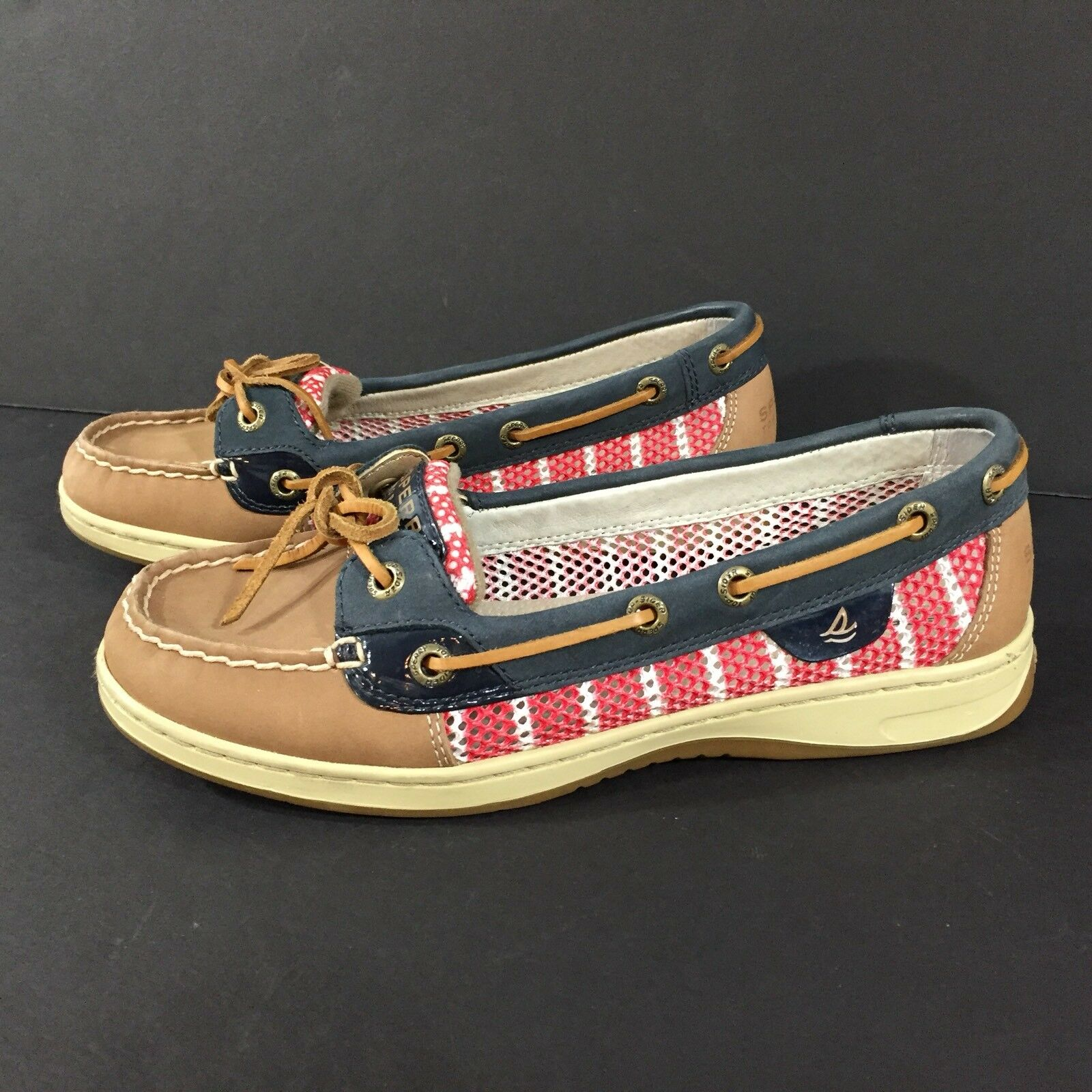 Sperry Top-Sider Angelfish Breton Stripe Mesh Boat shoes STS91253 Navy Tan Red
