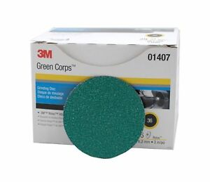 """25 3M Green Corps Roloc Grinding Disc 2"""" 36-Grit 01397 Pack"""