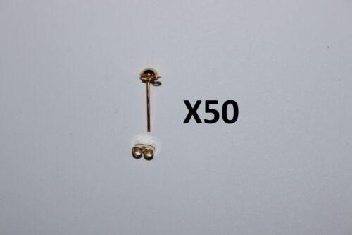 Lot de 20,50,100 .. clous+fermoirs métalliques dorés création boucle d/'oreille