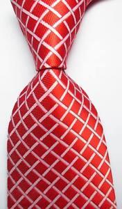 New-Classic-Checks-Orange-Red-White-JACQUARD-WOVEN-100-Silk-Men-039-s-Tie-Necktie