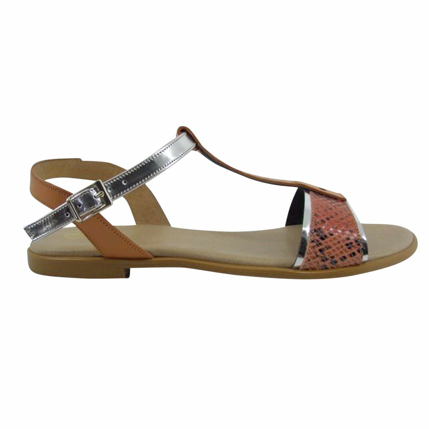 Size 10 Orange and Metallic Flat TBar Made Sandals Made TBar in Spain Big large size shoes cda80c