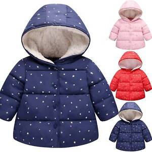 Toddler Kids Boys Girls Baby Hooded Jacket Coat Winter Warm Outwear Hoodie Tops
