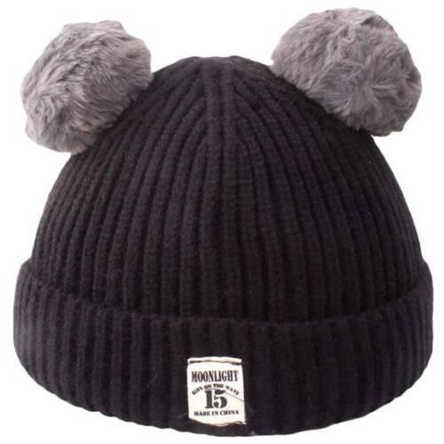 Newborn Girl Boy Baby Infant Winter Warm Cute Fur Pom Knit Hat Bobble Beanie Cap
