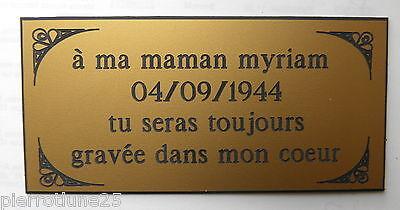 plaque gravée funéraire 3 ou 4 lignes  ft 75x150 mm