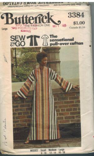 3384 Vintage Butterick Sewing Pattern Misses Loose Fitting Pullover Caftan OOP