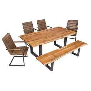 essgruppe tischgruppe sitzgruppe set eiche massiv echt leder st hle tisch bank ebay. Black Bedroom Furniture Sets. Home Design Ideas