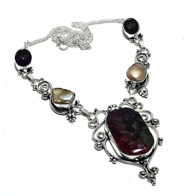 Rainbow Solar Quartz,pearl Ethnic Jewelry Handmade Necklace 34 Gms Un-3975