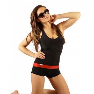 Damen-Badeanzug-mit-Bein-Schwimmanzug-Hotpants-Schwimmerruecken-Schwarz-SK0021