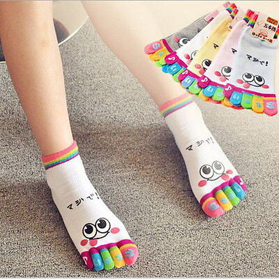 Lady Woman Girl Smile Five Fingers Trainer Toe Ankle Sport Socks Colors BH