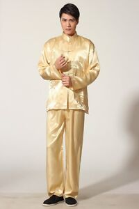 gold blue Chinese men s Satin  silk kung fu suit pajamas s-xxL  f7e917f0d