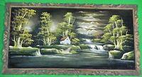Vintage Framed Signed Huge Landscape Waterfall Farm Oil Painting