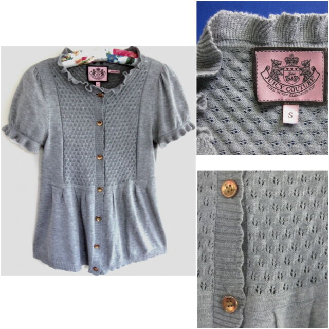 Juicy Couture Knit top S Pure cotton Gray Short sleeve Lacy S/S Sweater Cardigan