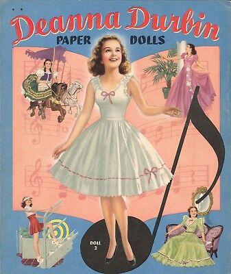 VINTAGE 1941 DEANNA DURBIN PAPER DOLL LASER REPRODUCTION~UNCUT LOW PR NO1 SELLR