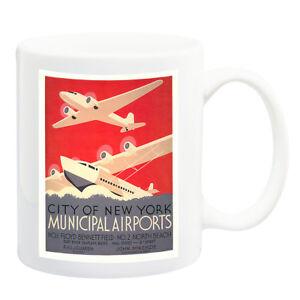 New-York-Municipal-Airports-Cartel-de-Viaje-Taza