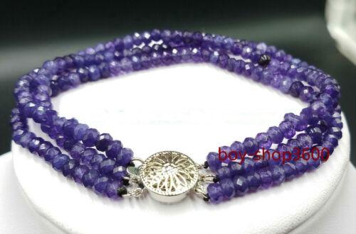 "2x4mm Natural faceted gemstone Beads 3 Rangée Bracelet 7.5/"" AAA"