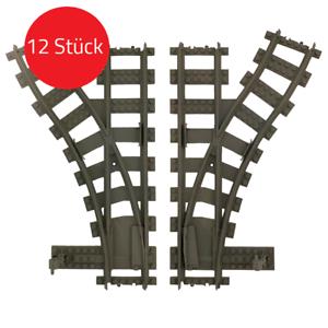 4 / 12 Stk. Weichen Gleise Eisenbahn Zug (kompatibel zu Lego 60198,60197,60205)