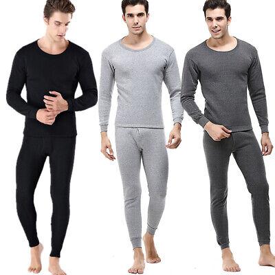 2pc Set Mens printing Fur Lined Thermal Underwear crew neck Tops Shirt Leggings
